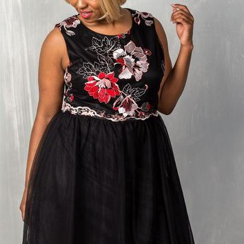 Ladies fashion round neckline sleeveless back zipper closure floral embroidered fit and flare tulle dress