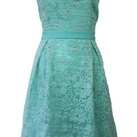 Blue Green Sleeveless Lace Dress