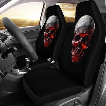 Glowing Skull Design Black Seat Cover