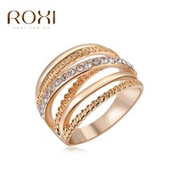 2017 ROXI Brand Ring Rose Gold Plated Zirconia Jewelry Finger Rings for Women Wedding Band Classic Rings Body Jewelry