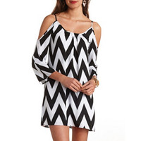 COLD SHOULDER BELL SLEEVE CHEVRON SHIFT DRESS