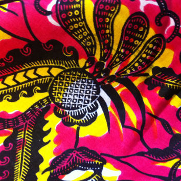 African Wax Print Fabric by the HALF YARD.  Floral in wine (dark pink), yellow and black.