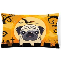 Halloween Fawn Pug Fabric Decorative Pillow BB1820PW1216