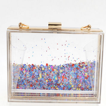 Glitter Liquid Flowing box clutch