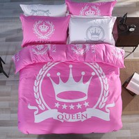 "3/4 pcs ""King & Queen"" Royal Crown Bedding Set 100% Cotton Pink Duvet Cover White Flat Sheet Pillow Shams Wedding Gift for Her"