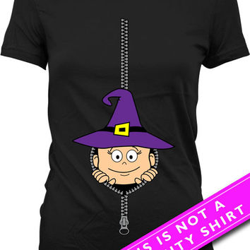 Baby Peeking Out T Shirt Peek A Boo Maternity T-Shirt Pregnancy Reveal Shirt Halloween Pregnancy Announcement T Shirt Witch Tee MAT-415
