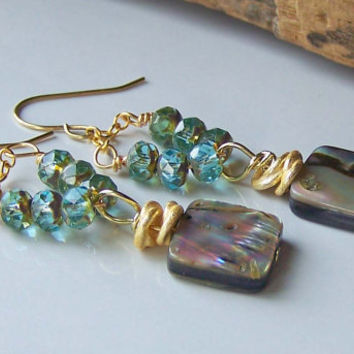 Etsy, Etsy Jewelry, Beaded Earrings, Beaded Jewelry, Czech Glass and Abalone Shell Earrings, Jewelry on Etsy, Dangle Earrings