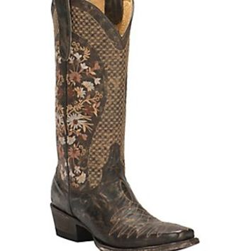 Cavender's by Old Gringo Women's Izadora Chocolate with Floral Embroidery Square Toe Western Boots