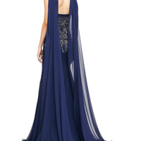 Embroidered Drape-Back Gown, Navy