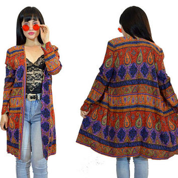 vintage 90s pasiley duster jacket ethnic print boho hippie gypsy oversized long blazer jacket small