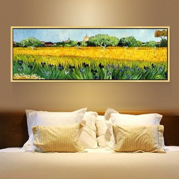 Vincent Van Gogh oil painting Iris Farm oil acrylic canvas painting Wall art Pictures for living Room heavy Texture Home Decor reproduction