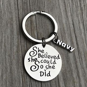 Navy She Believed She Could So She Did Keychain