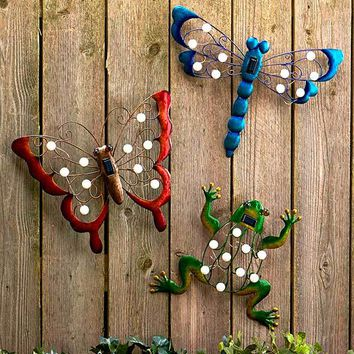 Solar Garden Wall Art Set Butterfly Dragonfly Frog Dusk to Dawn Marquee Lights