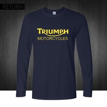Classic Triumph Motorcycles T Shirt Men 100% Cotton Printed Long Sleeve O Neck Good Quality T Shirt Top Tees New Autumn