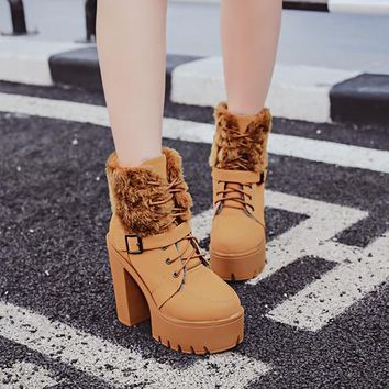Faux Fur Platform Round Toe High Chunky Heels Short Warm Boots