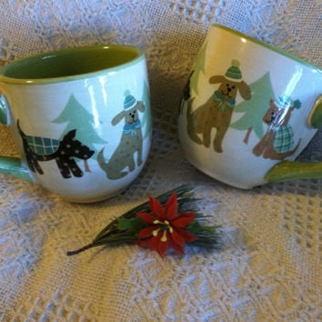 Christmas Dogs Mugs Gibson Vintage Ceramic Cups With Evergreen Trees Dogs in Green Hats Sweaters Winter Theme Canine Cocoa Tea Coffee Mugs