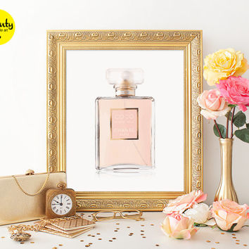 Coco Mademoiselle Chanel Paris Watercolor printable wall art, perfume bottle print, coco chanel bottle coco chanel print chanel perfume