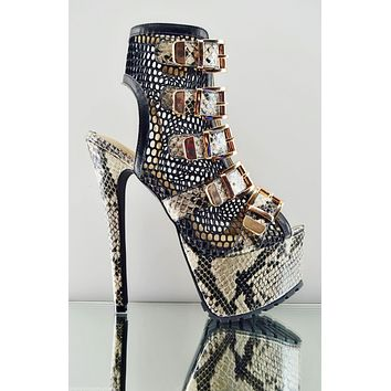 438eb803a5a Privileged V-lush Mesh Beige Snake Print Multiple Buckle Ankle B
