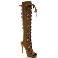 Diva Brown Lace Up Open Peep Toe Cut-Out Back Knee High Stiletto Heel Boot