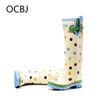 Tall Rain Boots For Woman Buckle Rainboots Water Shoes, Dots.