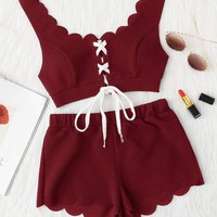 Scallop Edge Lace-up Front Top and Shorts Set