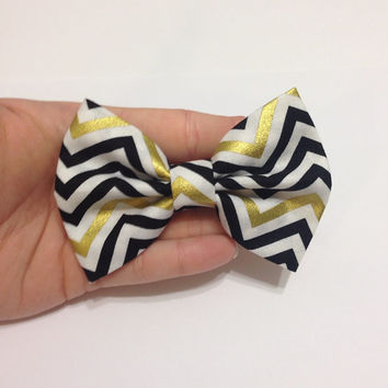 Black and Metallic Gold Chevron Fabric Hair Bow - 4 Inch Wide