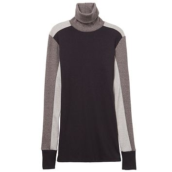 Alternative Apparel - City Block Eco-Mock Rib Eco Mock True Black Turtleneck Top