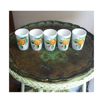 Cute Vintage Kitsch Juice Cups - Basket Weave Pattern with Fruit Each Holds 1/2 a Cup - No Stamp on Bottom
