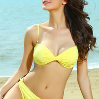 Yellow Ruched Push Up Bikini Set with Detachable Strap