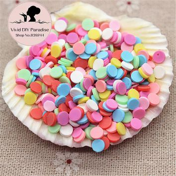 About 1000pcs/pack Mix Colors 5mm Flat Round Fimo Polymer Clay Slices Sticks Nail Tips Decoration/Craft Scrapbooking,QP012