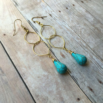 Gold Double Hoop Earrings Turquoise Earrings Gold Wire Hoop Earrings Long Gold Hoop Dangle Earrings Boho Earrings Gold Hoop Earrings E325