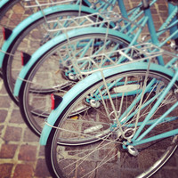 Fine Art Photography, New York Print, Bicycle Print, Turquoise Bikes, 8x8 print, Wall Art