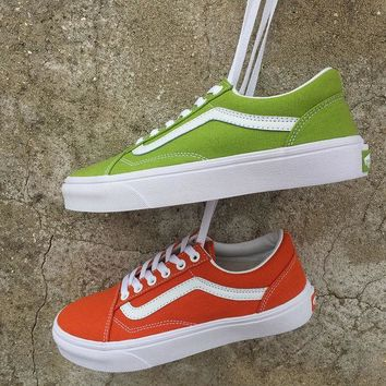 Vans Old Skool Canvas Flat Ankle Boots Sneakers Sport Shoes Green Orange