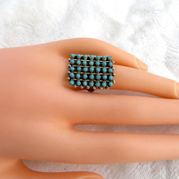 Zuni Snake Eyes Ring, Sterling Silver Petit Point Ring, Vintage Native American Jewelry