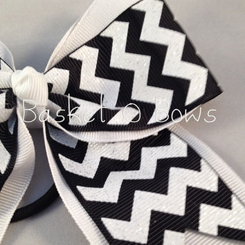 Small Glitter Chevron Hair Bow ~ Softball/Cheer/Volleyball/Team
