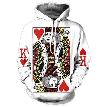 Heart Of The Cards Men Hoodie 3D Graphic Print Playing Poker King Sweatshirts Hip Hop Style Hooded Tracksuit Fashion Pullover