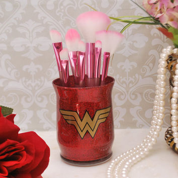 Makeup Organizer, Makeup Brush Holder, Brush Holder, Desk Organizer, Pen Holder, Pencil Holder - Red Glitter / Wonder Woman