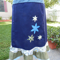 Blue Linen Flowers Hippie Patchwork Skirt Mid Length Spinner skirt Festival skirt, hippie clothes OOAK skirt, boho chic skirt
