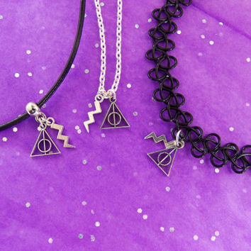 """Potterhead necklace, deathly hallows necklace, triangle charm, lightening bolt, stretchy tattoo choker, leather choker, 20"""" chain, gifts"""
