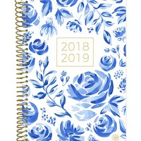 """bloom daily planners 2018-2019 Academic Year Day Planner - Monthly/Weekly Calendar Book - Inspirational Dated Agenda Organizer - (August 2018 - July 2019) - 6"""" x 8.25"""" - Blue & White Floral"""