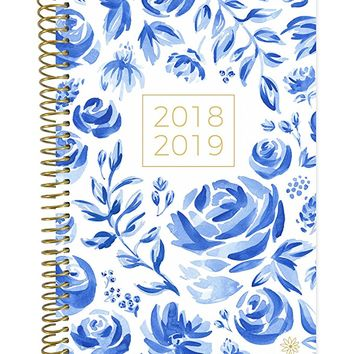 "bloom daily planners 2018-2019 Academic Year Day Planner - Monthly/Weekly Calendar Book - Inspirational Dated Agenda Organizer - (August 2018 - July 2019) - 6"" x 8.25"" - Blue & White Floral"
