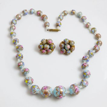 Italian Light Blue Wedding Cake Bead Necklace and Clip Earrings, Murano Glass