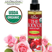 #1 Body & Bath Oil - Romantic Sexy Bulgarian Rose, Certified Organic by USDA, Jojoba & Argan Oil w/ Vitamin E, No Alcohol, Paraben, Artificial Detergents, Color or Synthetic perfumes, 5 Fl.oz.