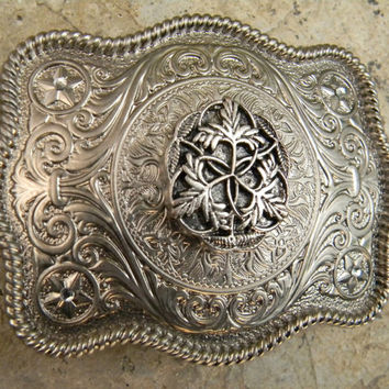 Silver Concho Leaf Belt Buckle, Western Womens Mens Southwestern Country Engraved Buckle, Girls Belt Buckle, Cowboy Belt, Cowgirl Buckle