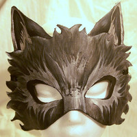 Custom Leather Wolf Mask
