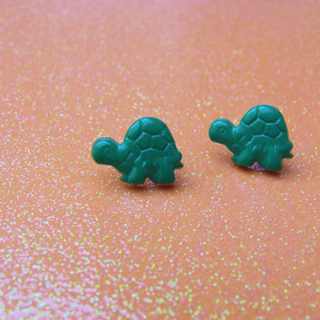 Green Turtle Stud Earrings - Post Earrings - Plastic Earrings - Tortoise Reptile - Kitsch Kawaii Cute -  Hypoallergenic Nickel Free