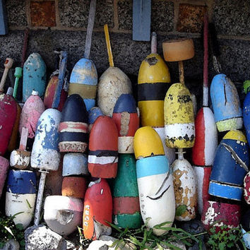 Lobster Buoys Watercolor Photograph, 36 x 24, Metallic Finish Poster, Bearskin Neck, Rockport, MA, Buoy On Up To Summer