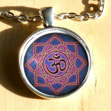 Pink and Purple OM Pendant Necklace