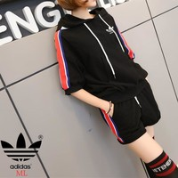 """Adidas"" Fashion Casual Letter Print Bat Sleeve Hooded Short Sleeve Set Two-Piece Sportswear"