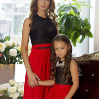 "Mother daughter matching dress! Black with Red Maxi Dress ""Reflection"" Mom and daughter dresses, mommy and me outfits, matching mom and baby"